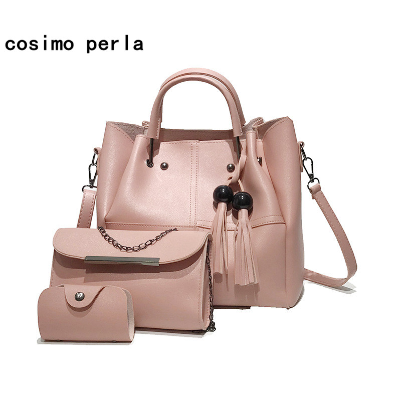 Large Capacity Leather Composite Bags for Women Drop Shipping Handbags Fashion Tassel Causal Totes Lady Crossbody Bags Set 2018 fashion pu composite bags handbags crossbody bag solid color versatile totes for women girl lady gl k871