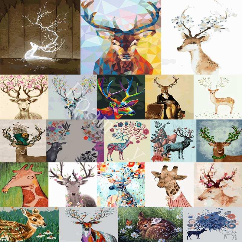 ROAMILY 22 Modelle Deer Serie Diy Ölgemälde Ohne Gerahmte Digitale ...