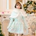 Princesa doce lolita vestido branco Doce chuva de design Japonês Doce de manga longa Fino Manto Trespassado C16CD6238