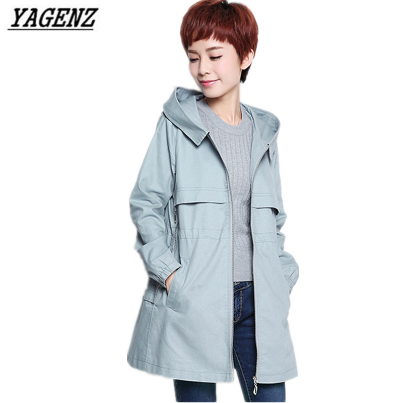 YAGENZ Middle-aged Women Spring Autumn   Trench   Coat Large Size Long-sleeved Hooded cotton Windbreaker Coat Casual Women Clothing