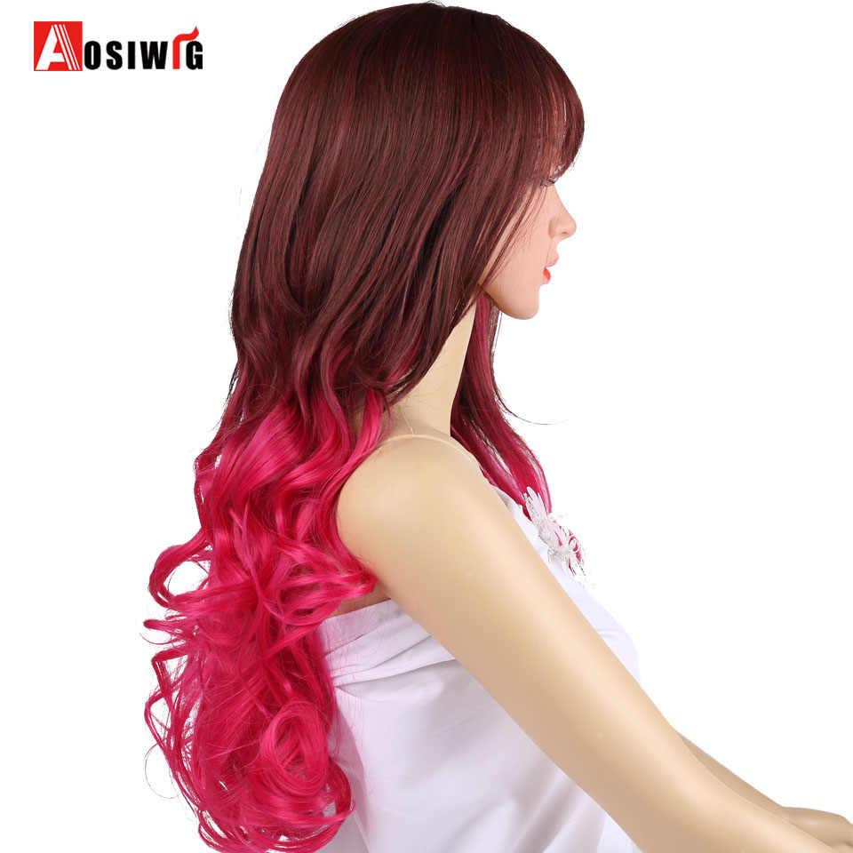 """AOSI Sentetik 20 """"Uzun Dalgalı Ombre Gümüş Mix Kırmızı Mor kahküllü peruk Cosplay Günlük Peruk Kadınlar Için Isıya Dayanıklı"""