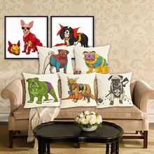 RECOLOUR  Hot sale cartoon super hero dog art Cushion Cover throw pillows Home Decor Pillowcase pillow cover Sofa cojines