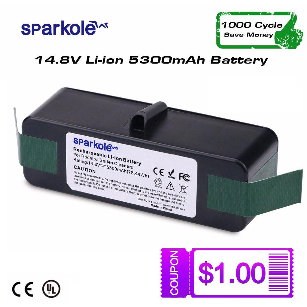 SPARKOLE Nouvelle Version 5.3Ah 14.8 v Li-ion Batterie pour iRobot Roomba 500 600 700 800 Série 510 532 550 560 620 630 650 880 770 780