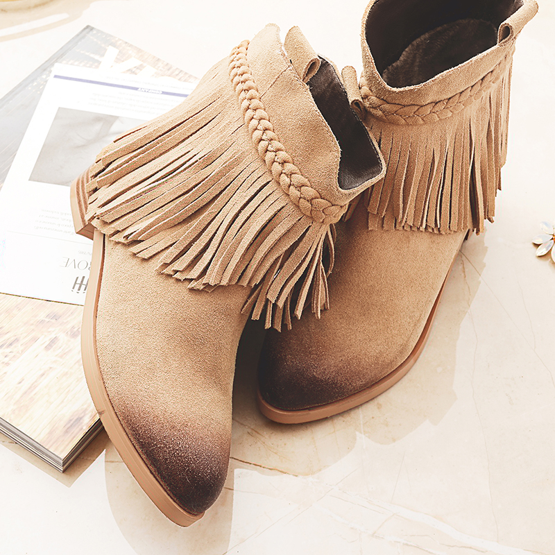 ФОТО Women's Genuine Suede Leather Slip-on Ankle Boots Brand Designer Fringe Flats Short Booties Gradient Toe Autumn Shoes for Women