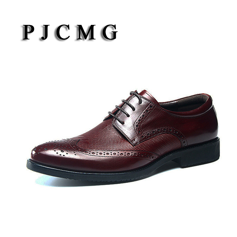 PJCMG Fashion Italian Luxury Mens Casual Oxfords Black Red Lace-Up Carved Designer Genuine leather Flats Office Wedding Shoes uni t ut206a 1000a digital clamp meters earth ground megohmmeter multimeter voltage current resistance insulation tester