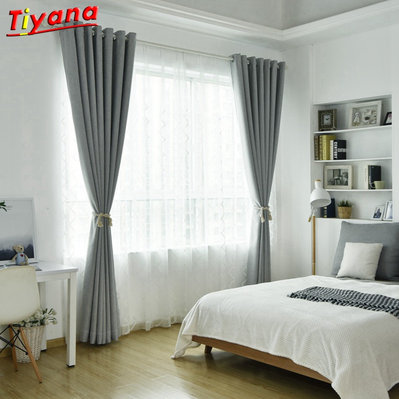 Aliexpress.com : Buy Grey Solid Modern Curtains For Living