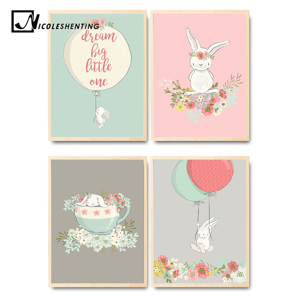 US $2 85 49% OFF|Cute Rabbit Balloon Poster Nursery Wall Art Canvas Print  Cartoon Nordic Style Painting Picture Children Living Room Decoration-in