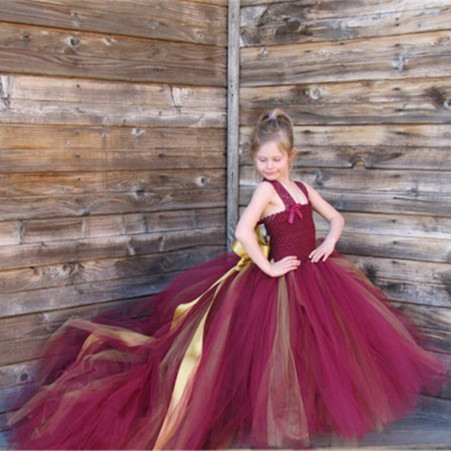 Handmade Removable Long Train Tail Girls Tulle Tutu Dress Baby Party Frocks Elegant Wine Birthday Dancing Festival Party Dresses