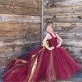Hecho a mano Chicas Cola Desmontable Long Train Tulle Del Vestido Del Tutú Del Bebé Vestidos de Fiesta Elegante Vino Festival de Cumpleaños de Baile Vestidos de Fiesta