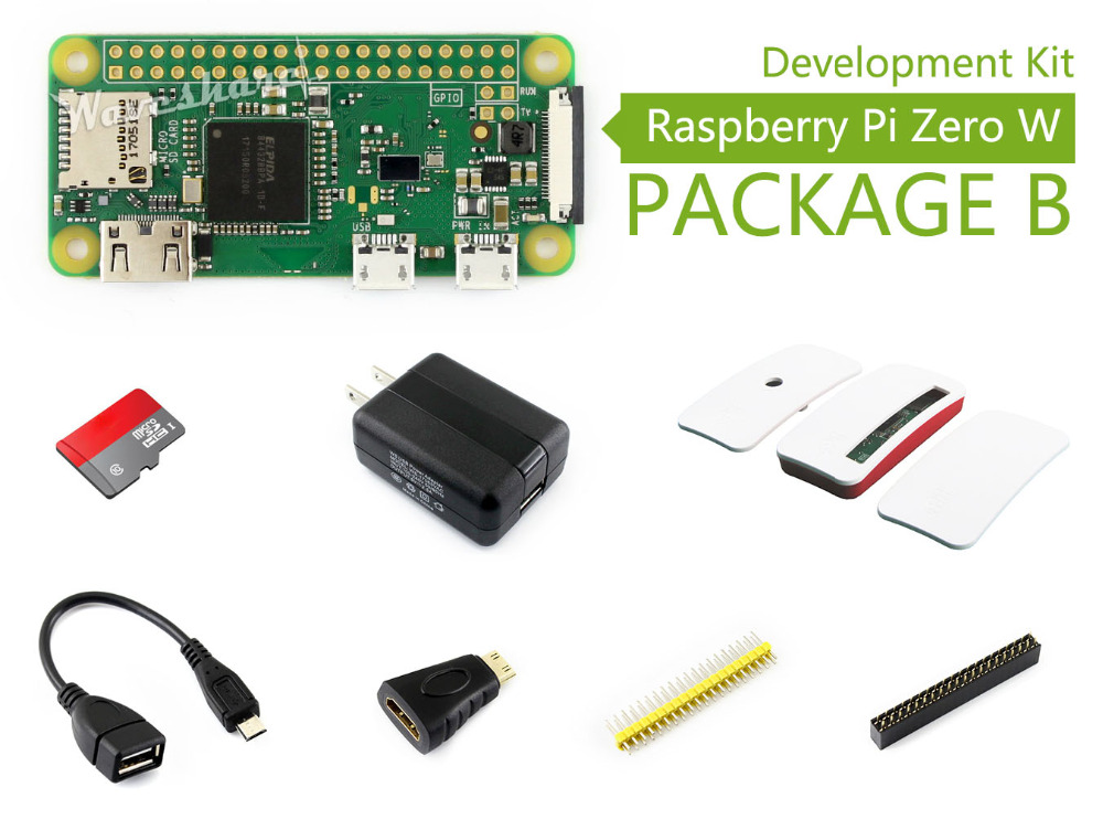 Raspberry Pi Zero W Package B Basic Development Kit Micro SD Card, Power Adapter, Official Case, and Basic Components xilinx fpga development board xilinx spartan 3e xc3s250e evaluation board kit lcd1602 lcd12864 12 modules open3s250e package b