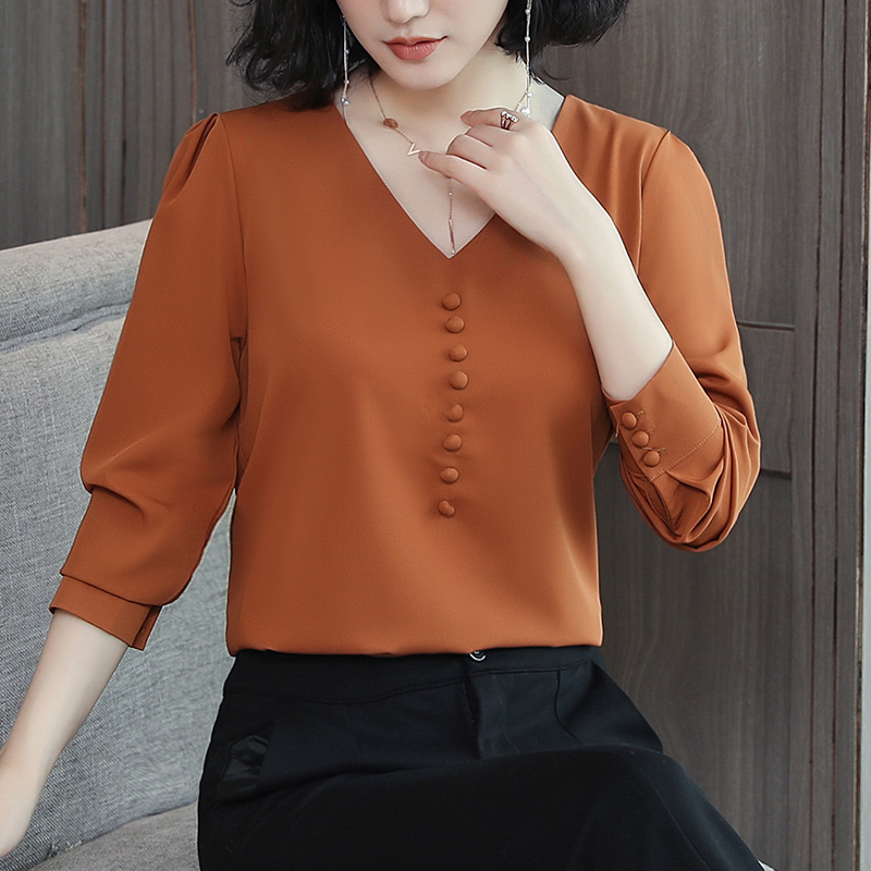 2018 new autumn women   blouse   solid work wear bottoming Vcollar   blouse     shirt   loose long sleeve Chiffon women top blusa 1134 40