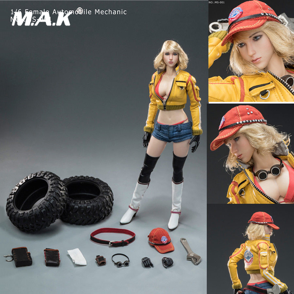 1/6 Scale Collectible Full Set <font><b>Action</b></font> <font><b>Figure</b></font> <font><b>Sexy</b></font> <font><b>Female</b></font> Girl Automobile Mechanic MS-001 Model With Box for Fans Collection Gift image