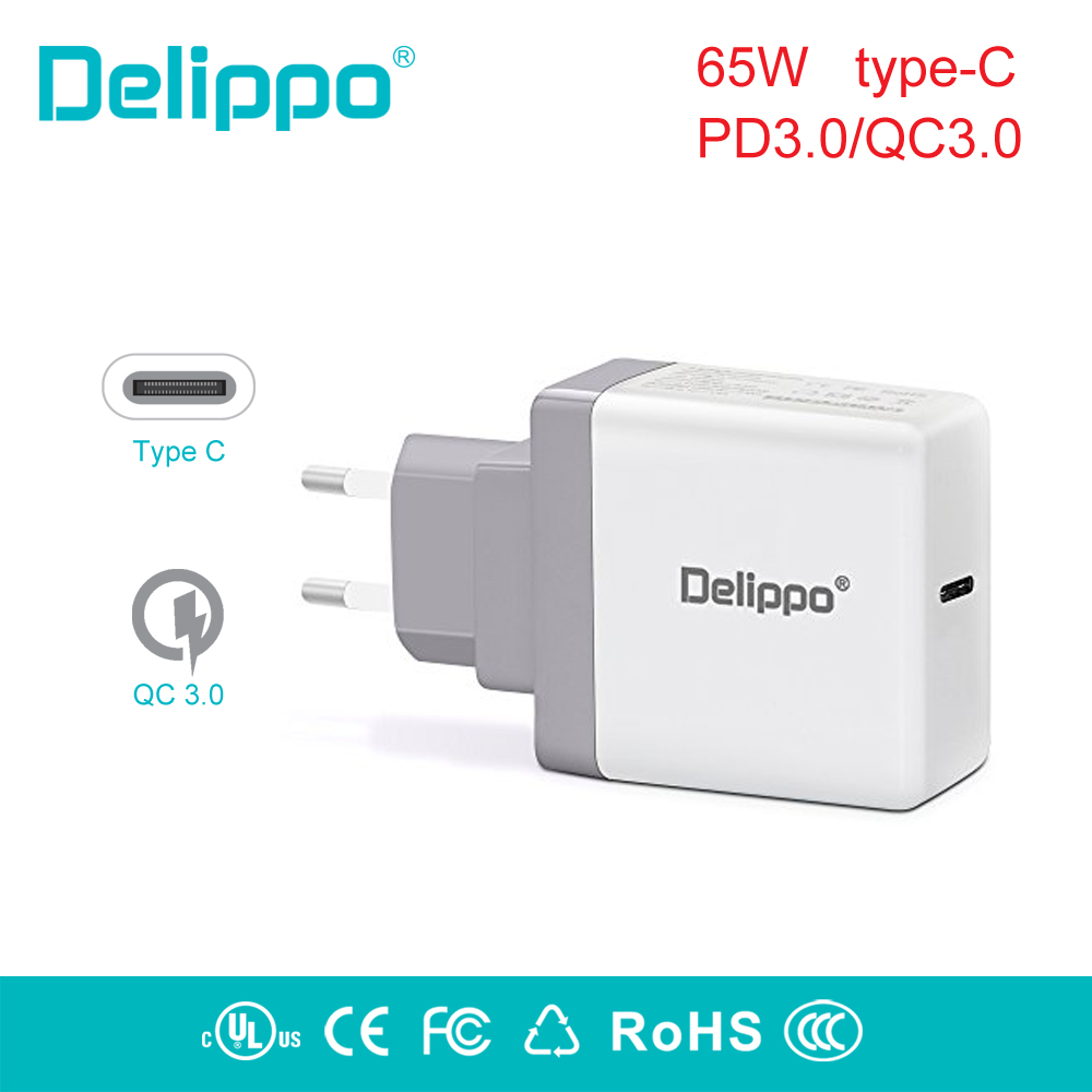 Delippo 65W USB-C Type-C PD3.0 Power Supply Wall tablet laptop Adapter Charger for HP Elite X2,Samsung Tabpro s XIAOMI ,Google helper usb type c wall charger fast charging power adapter for acer asus samsung lenovo hp elite x2
