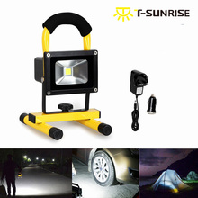 T-SUNRISE 10W Rechargeable Portable Spotlight LED Flood Light Wireless IP65 Emergency Outdoor Hunting Camping Fishing Light