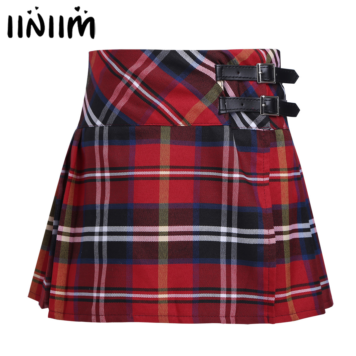 Kids Girls School Uniforms Pleated Side Split Plaid Skirt Tartan Kilt with Faux Leather Buckle Student Costumes Skirts