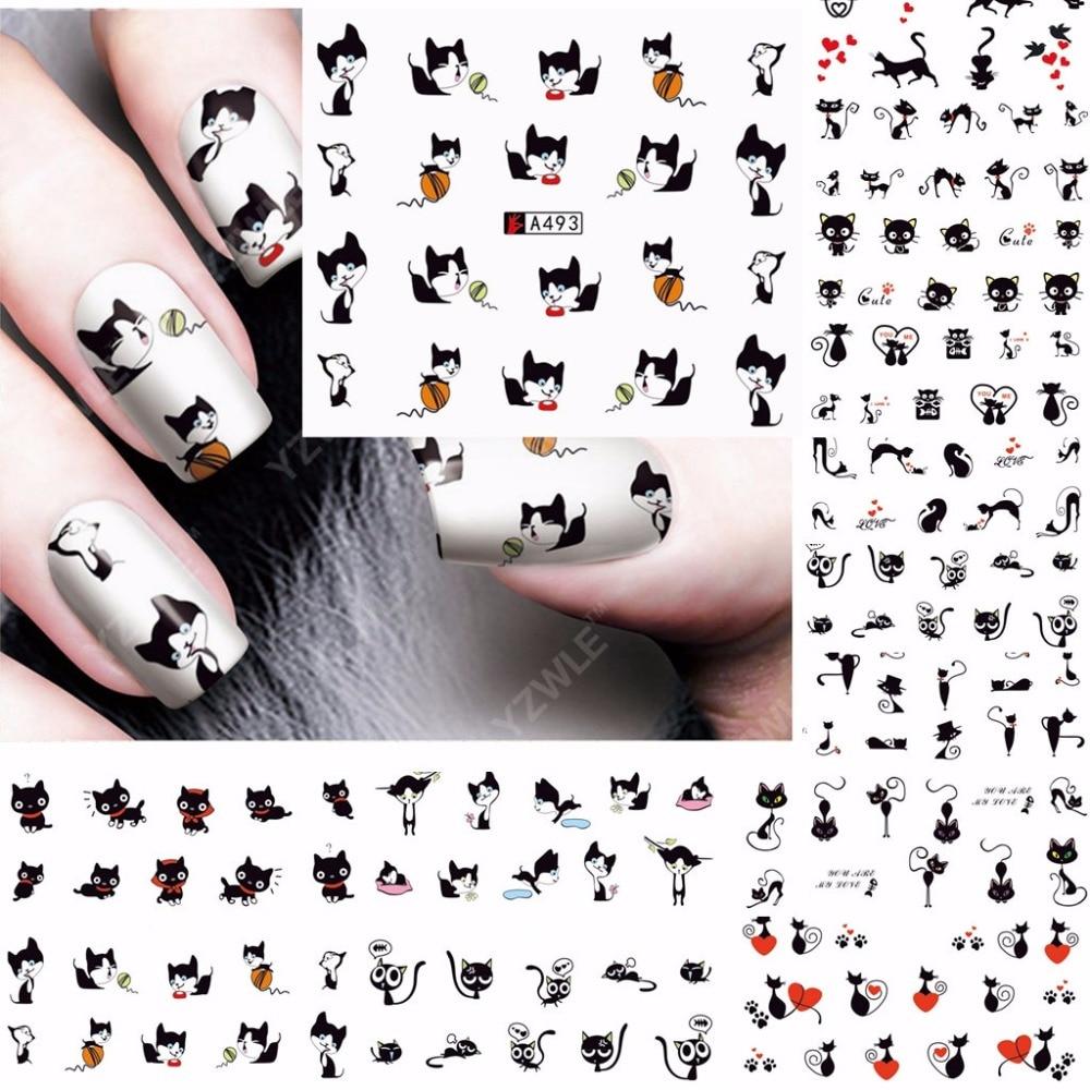 12 folhas gato preto design arte do prego decalques de transferência de água etiqueta do prego slider tatuagem acessórios do prego ferramentas beleza A493-504