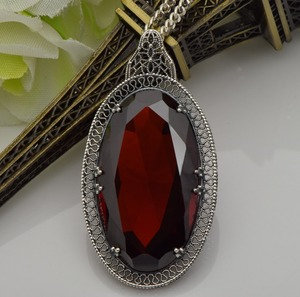 Image 5 - Серебряный кулон Szjinao для женщин, красный гранат, свадебный подарок для гостей, Настоящее серебро 925 пробы, Овальный драгоценный камень, Роскошные ювелирные украшения
