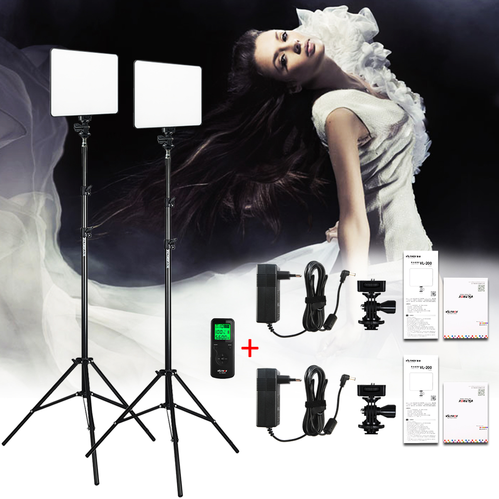 VILROX 2 pcs VL-200T Bi-couleur Dimmable Sans Fil à distance LED Vidéo Panneau Lumineux Éclairage Kit + 75 Lumière stand pour le tournage en studio