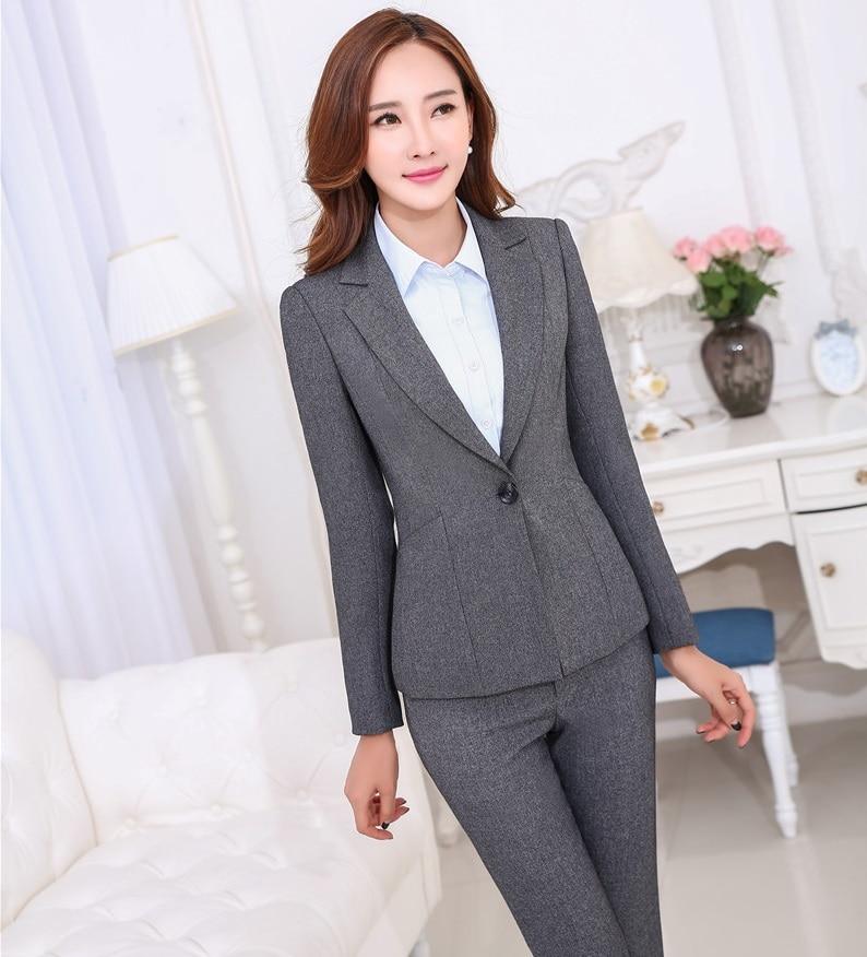 Plus Size Formal Pantsuits Jackets And Pants Novelty Grey Uniform Design Ladies Trousers Suits ...