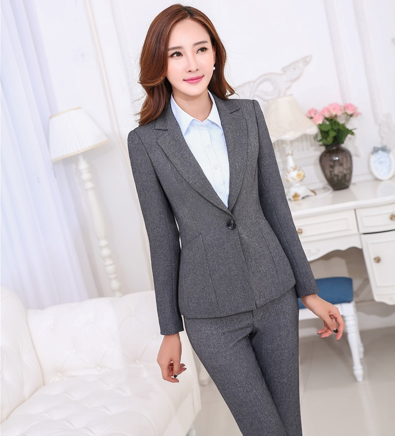 Amazing Women Gray Formal Pants High Waist Elastic Cotton Skinny Pencil Pants
