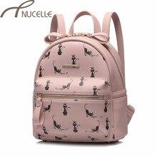 NUCELLE женщин искусственная кожа рюкзак Дамская мода мультфильм кошки рюкзак женский для отдыха универсальные путешествия двойной сумки на плечо