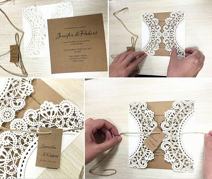 Vestuvių kvietimas, baltų nėrinių kvietimo kortelės - - Šventės ir vakarėliai - Nuotrauka 2