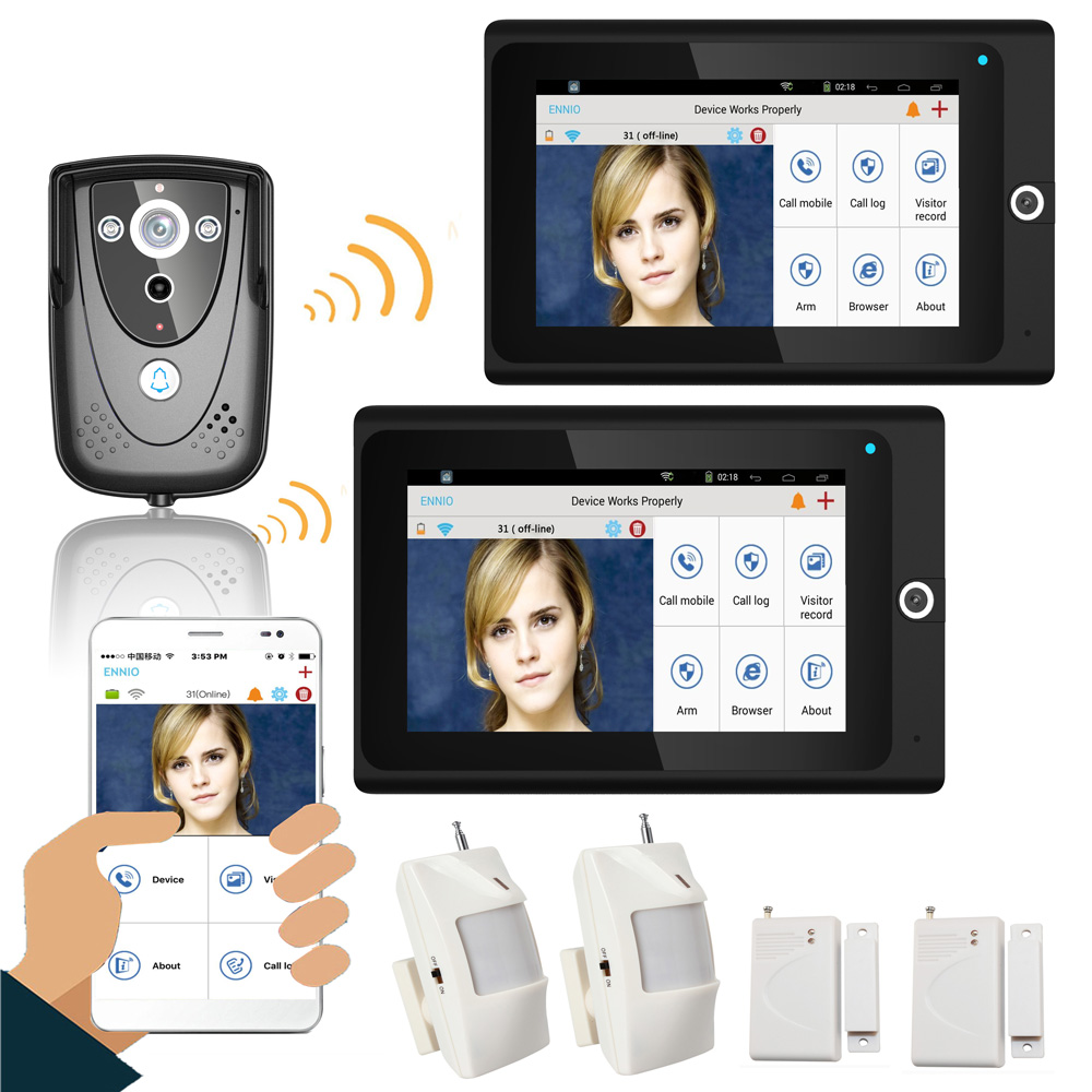 "Popular 7"" 2 Monitors WiFi Wireless Video Door Phone intercom Doorbell IP Camera PIR IR Night Vision Home alarm system