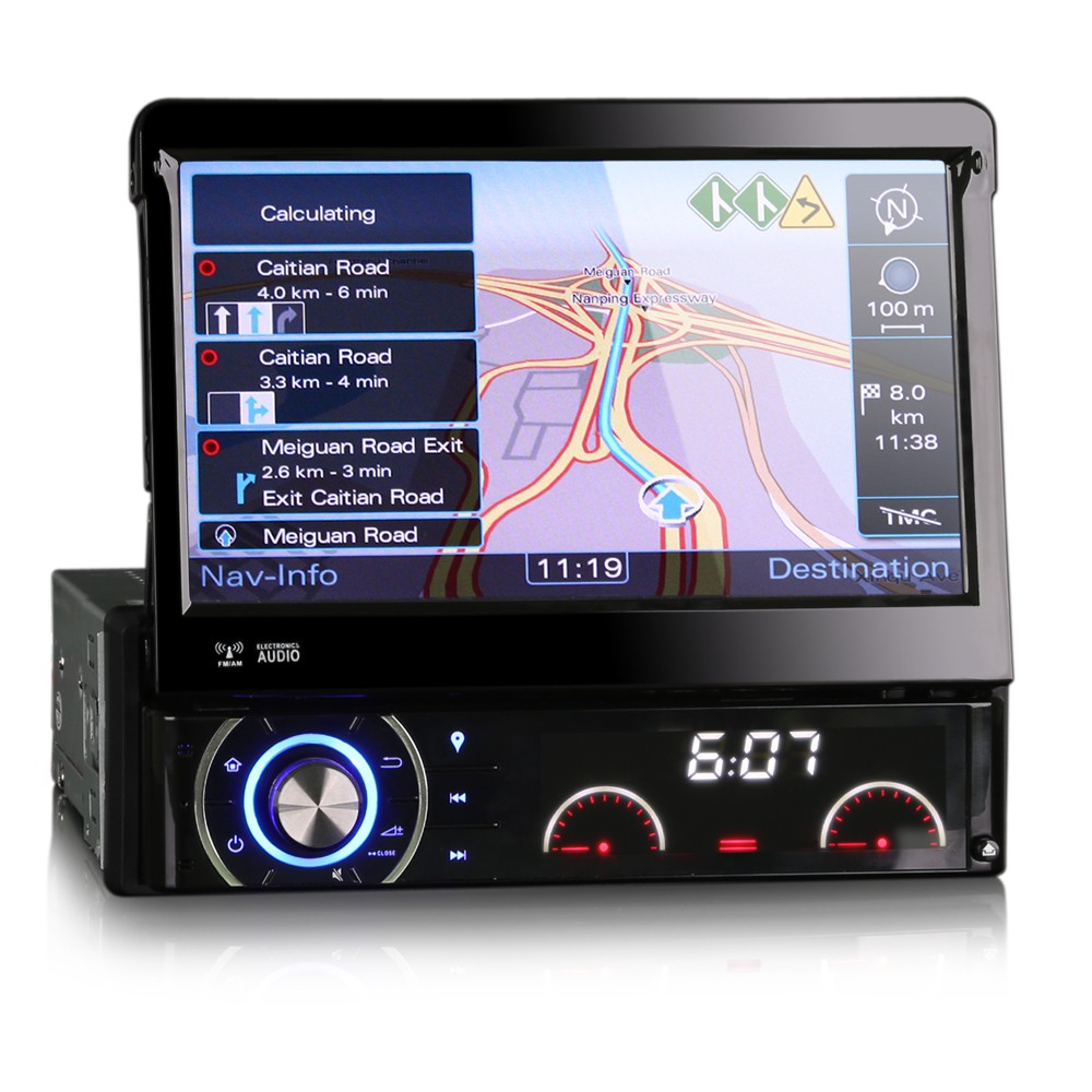 Aliexpress com buy 1 din universal multimedia car radio gps navigation system touch screen stereo hd800 480 1din detachable radio head unit player from