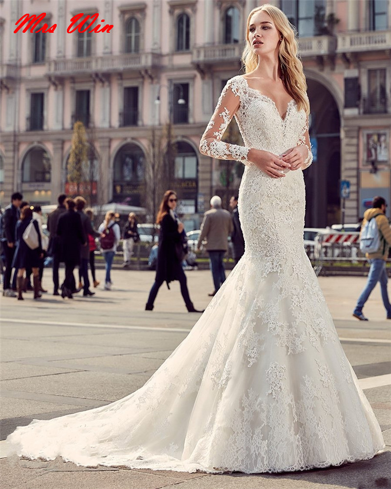 2017 Vintage Long Lace Wedding Dress Long Sleeve Mermaid