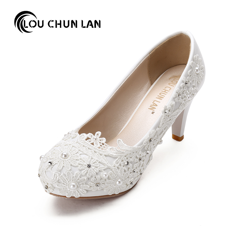 Large Size 41-48 White Wedding Shoes lace rhinestone Bridal female High Heels flower pearl Shoes Women Pumps