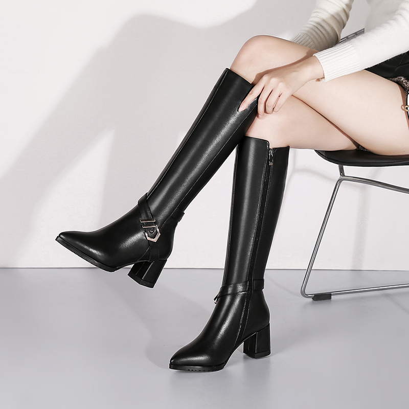 Повседневные модные кожаные ботинки с белым воротником - 6