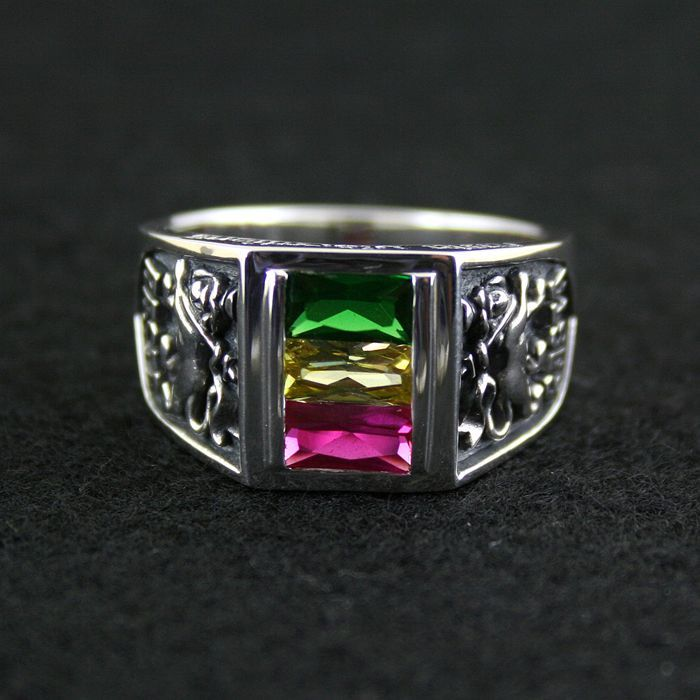 Rv 925 pure silver ring rasta vibration three-color crystal ring male female
