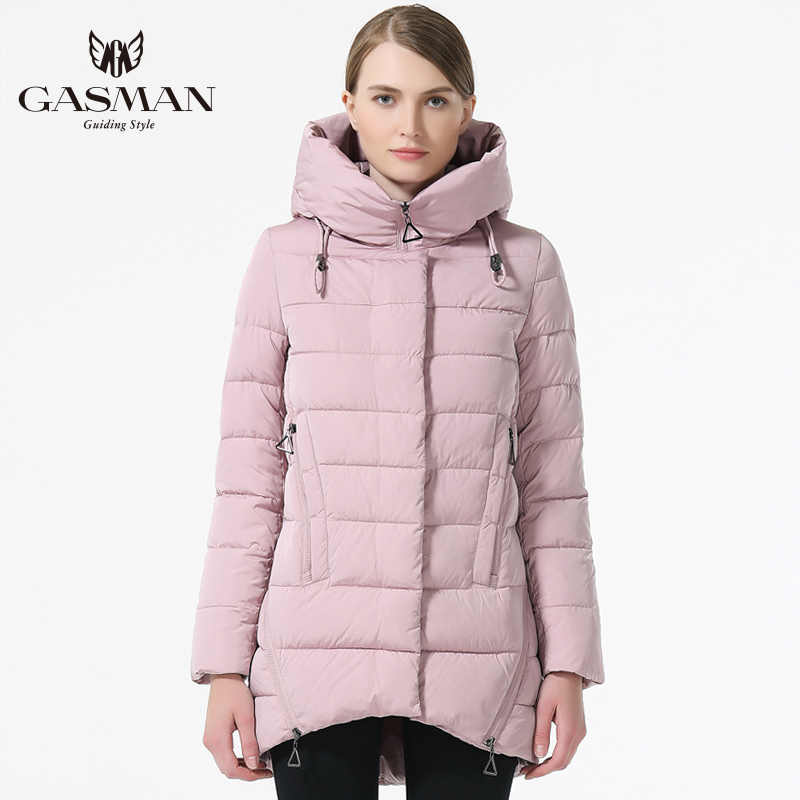 ed5399412 GASMAN 2018 New Fashion Winter Down Jackets And Coat For Women Medium  Length Hooded Thick Down Parka Coat Black Color Overcoats