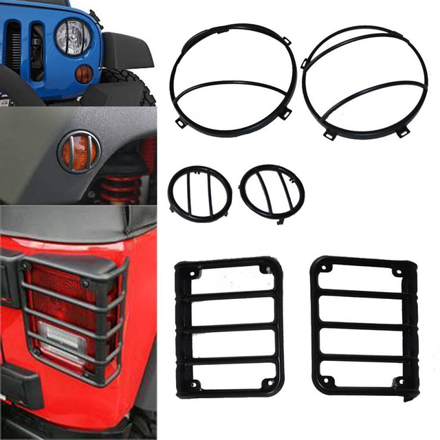 Black 7 Inch Headlight Guards Turn Signal Light Covers Tail Light Guard  Cover Protector For Jeep