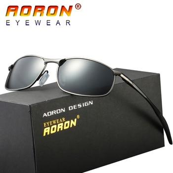 AORON Brand Designer Original Polarized Sunglasses Goggles Men Designer Mirror Glasses oculos de sol Eyewear Accessories A395