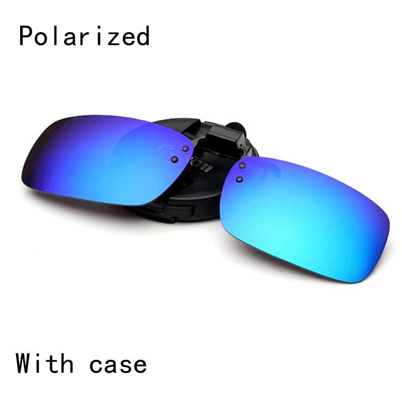6f226c84791 Polarized Clip on Sunglasses clip on glasses square Polaroid Lens Men Women  mirror clip Sun Glasses Vision Driving with case-in Sunglasses from Apparel  ...