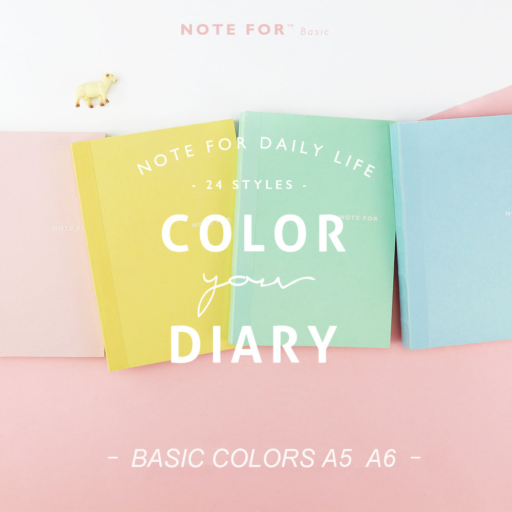 NOTE FOR Basic Colors A5 A6 DIY Diary 24 Styles Blank Pages Lines Squares HOBONICHI Style Notebook Organizer Sketch Graffti Book