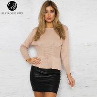 Lily Rosie Girl Fashion Lace Up Waist Female Sweaters Long Sleeve O Neck Knitting Cashmere Women
