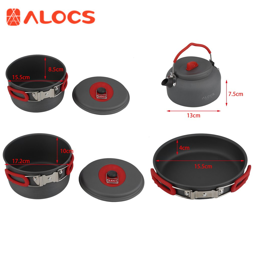 Alocs 7sets Picnic Frying Pan Kettle Aluminum Outdoor Camping Hiking Cookware Cooking Picnic Pan Pot Teapot Dishcloth 4-5 People refined iron cooking cookware kitchenware set free shipping manufactuer in china for sale wok pan fry pan soup pot kitchen