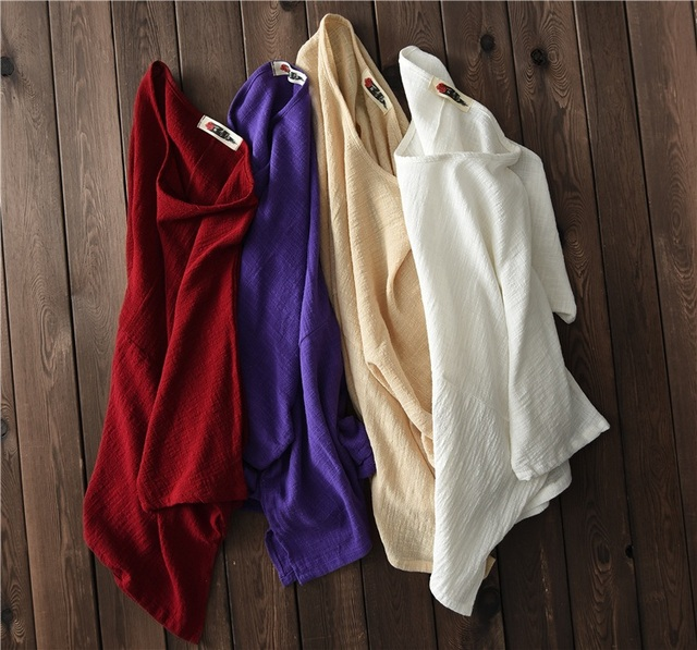 ORIGOODS Solid color Plus size Women Blouse Shirt Cotton Vintage Summer Loose Casual Shirts Women Tops and Blouses Femme B202 5