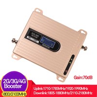 2G 3G 4G LTE 1800 WCDMA 2100 cell phone signal booster 70dB Gain 3G 2100mhz/1800mhz signal booster repeater