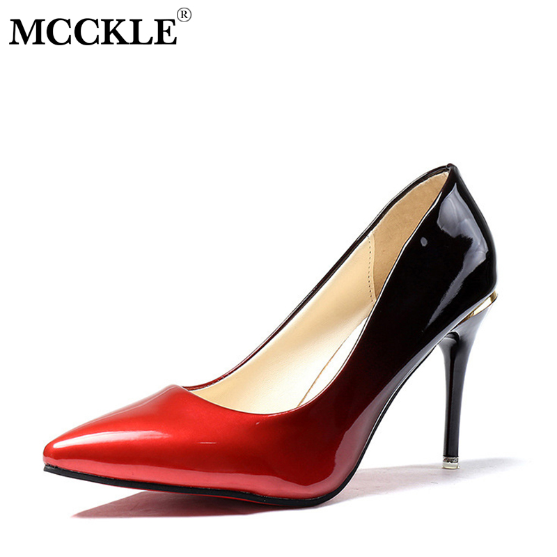 купить MCCKLE Woman High Heels Autumn Sexy Pumps Female Thin Heel Shoes Gradient Slip On Fashion Party Wedding Shoe For Ladies по цене 840.6 рублей