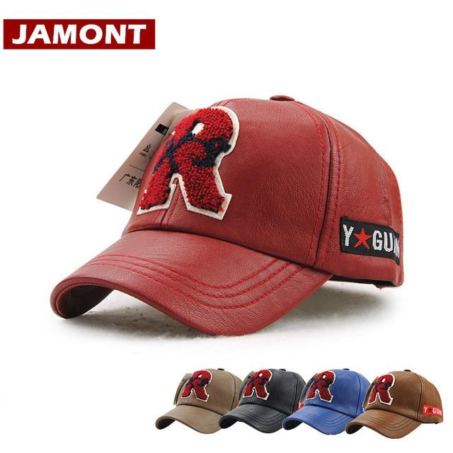 99de642d27c6 € 10.33  [Jamont] invierno niños gorra de béisbol pu cuero SnapBack  sombrero niño niña carta hueso sombrero caliente gorras alta calidad 5 10y  ...