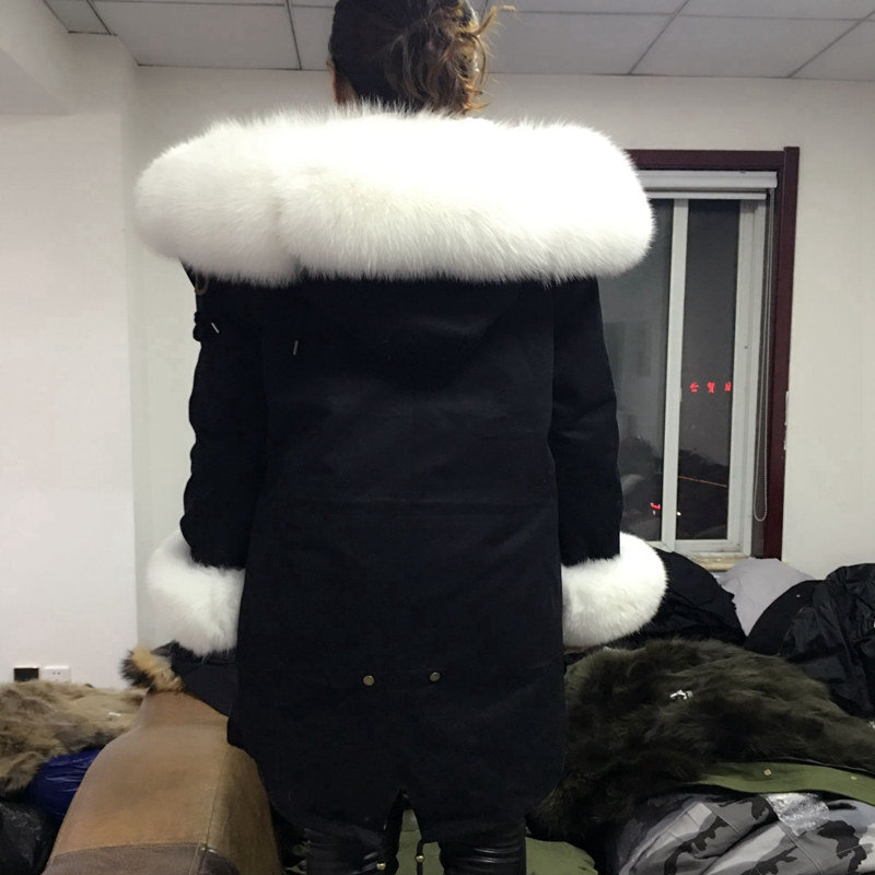 2018natural Fox fur coat krave kanin hårforing fraktion overvinde - Dametøj - Foto 2