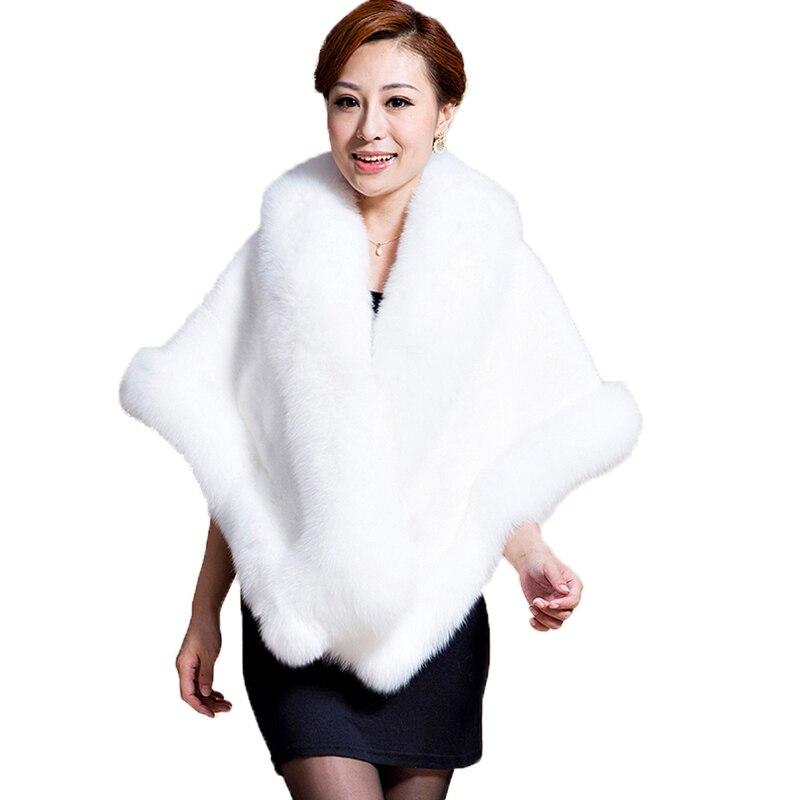 Cape de fête d'hiver de luxe femmes élégant enveloppement doux meilleur Rex complet lapin renard fourrure châle manteau blanc