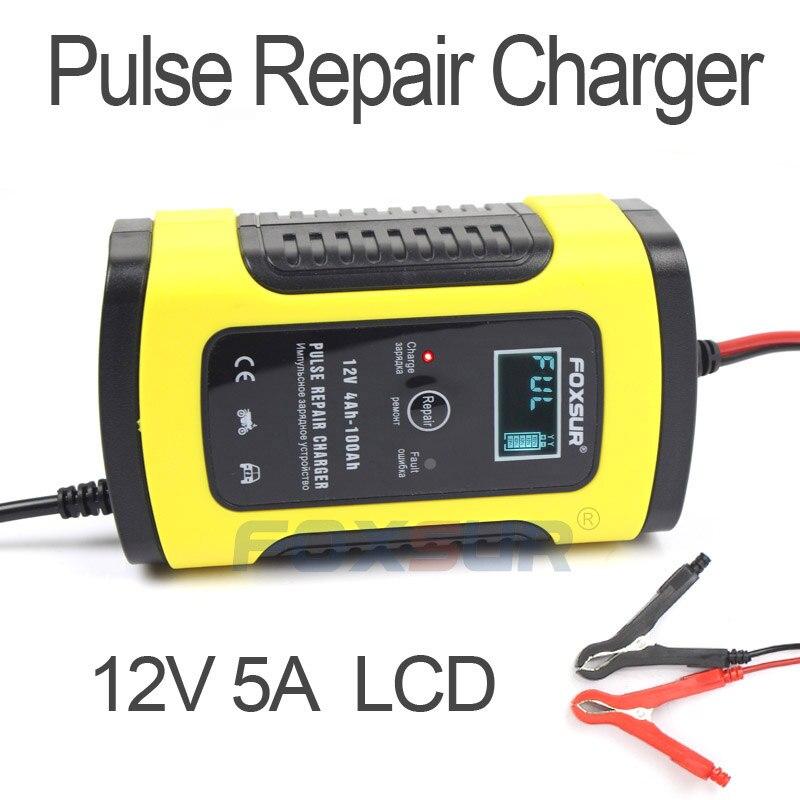 Foxsur 12 v 5a carregador de reparo de pulso com display lcd, motocicleta & carregador de bateria de carro, 12 v agm gel molhado chumbo ácido carregador de bateria