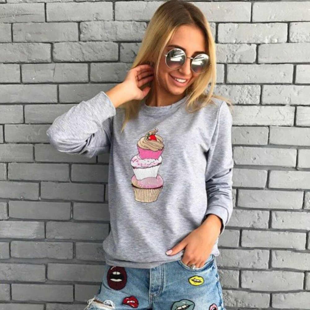 Vrouwen Hoodies Mooie Cupcake Print Sweatshirt Casual O Nek Vrouwelijke Pullover Harajuku Hoodies Lange Mouw Femme Tops