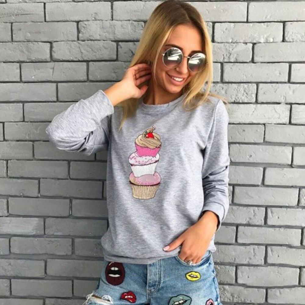Women Hoodies Lovely Cupcake Print Sweatshirt Casual O Neck Female Pullover Harajuku Hoodies Long Sleeve Femme Tops