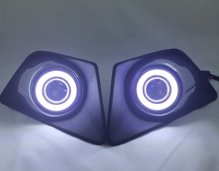 DRL COB angel eye (5 colors) + halogen fog lamp + projector lens + fog lamp cover for ford EcoSport 2013-14, 2pcs ownsun superb 55w halogen bulbs cob fog lights source angel eye bumper cover for mazda cx 5 2013 2015