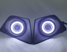 DRL COB angel eye (5 цветов) + галоген противотуманные фары + объектив проектора противотуманные фары крышка для форд EcoSport 2013-14, 2 шт.